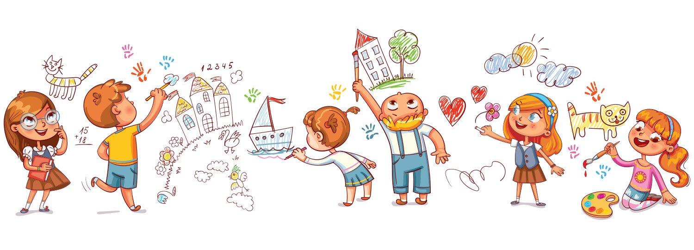 děti v mateřské škole - kreslený obrázek